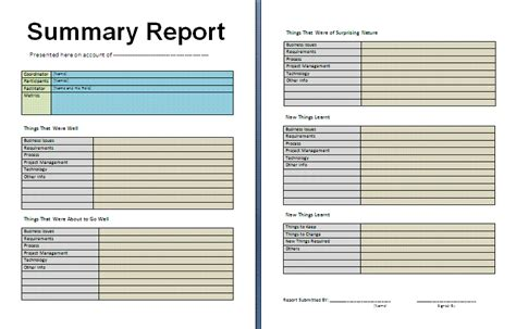 layout of a summary report weekly operations report template sles for business v