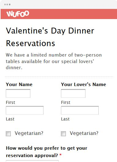 valentines day reservations form template wufoo