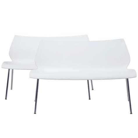kartell bench pair of italian white benches by vico magistretti for