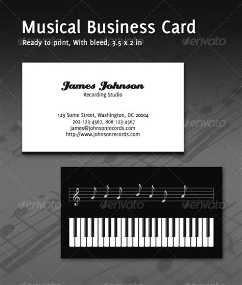 free piano business card template cardview net business card visit card design