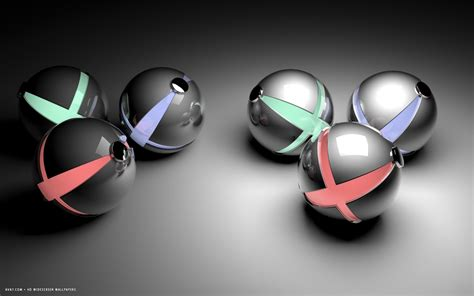 abstract red green  blue reflective balls hd