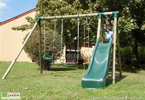 portique balancoire toboggan portique balan 231 oire aire de jeux mon am 233 nagement jardin