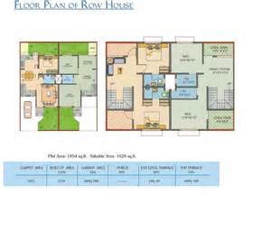 row house plans with dimensions images