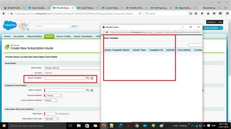 salesforce sandbox template apex unable to retrieve quote templates and products