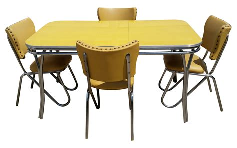 Yellow Kitchen Table Vintage Midcentury Retro Yellow Dining Set Chairish