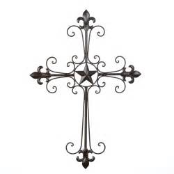 Metal Cross Wall Decor by Wrought Iron Fleur De Lis Wall Cross Hanging Home Decor