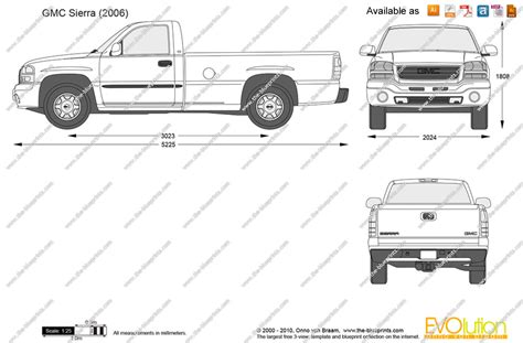 gmc sierra truck bed dimensions the blueprints com vector drawing gmc sierra