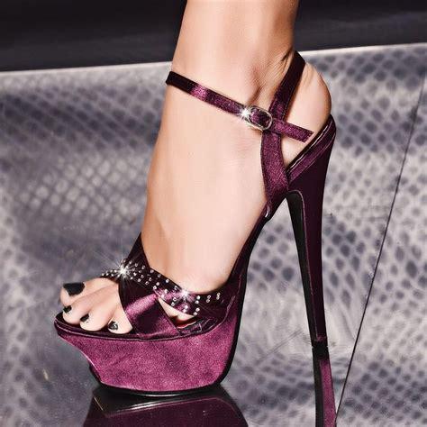 Sale Sendal High Heels T14 Black purple high heels 2016