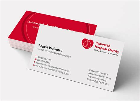 charity business card templates papworth hospital adept