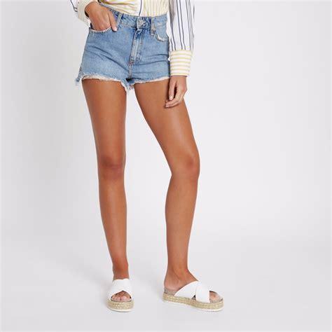 Frayed Denim blue frayed hem high rise denim shorts denim shorts