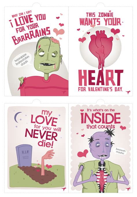 printable zombie cards free valentine s day printables a collection doing it