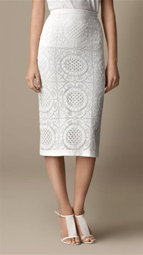 burberry lace pencil skirt in white lyst