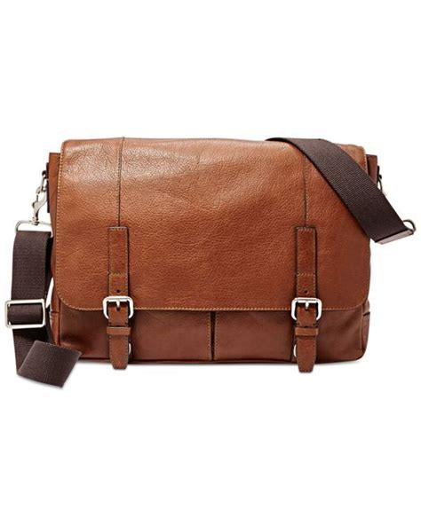 Fossil Satchel Cognac Brown fossil graham leather messenger bag in brown for cognac lyst