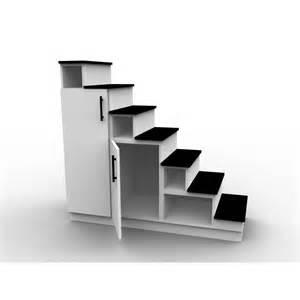 meuble escalier blanc et noir espace de rangement