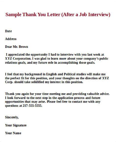 thank you letter after chemist position sle thank you letter 9 exles in pdf