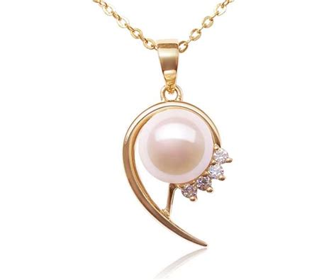 Caring Colours Illuminate Timeless Dac 02 Sea Gold 10gr 8 9mm pearl pendant with cz diamonds 14k solid gold
