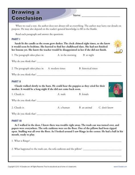 Drawing Conclusion Worksheets by Drawing Conclusions Worksheets For 4th Grade