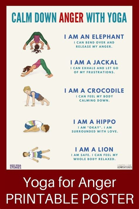 printable yoga poster yoga for anger calm anger with 5 kids yoga poses