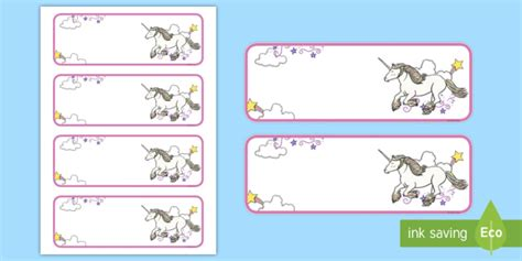 Unicorn Themed Editable Drawer Peg Name Labels Blank Themed Classroom Unicorn Label Template