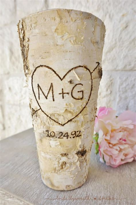 Shabby Chic Vases Wedding by Initials Date Birch Bark Vase Centerpiece Wedding