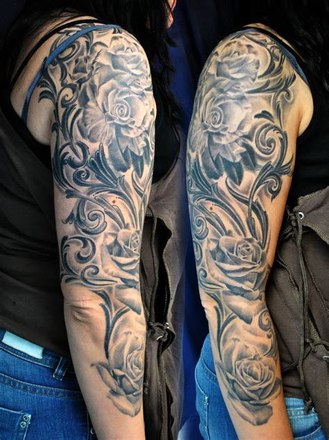 roses tattoo sleeves flowers and tribal sleeve