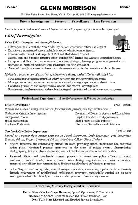 Career Change Resume Sample for Private Investigator