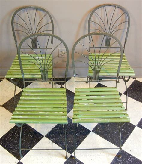 deco period folding garden chairs stylized palm trees