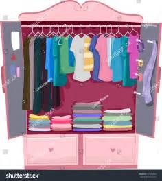 illustration pink wardrobe womens clothes stock