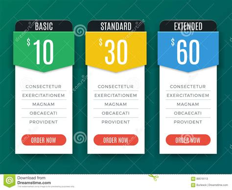 price plan design comparison price chart table pricing plan vector template