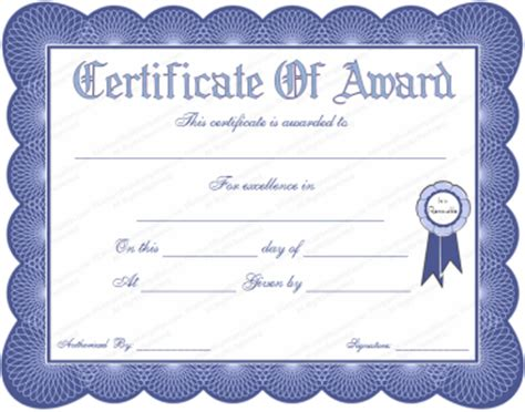 formal award certificate template formal certificate templates
