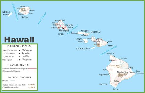 map of usa and hawaii hawaii highway map