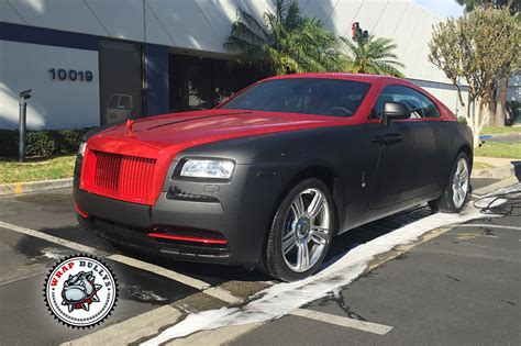 wrapped rolls royce rolls royce wraith wrapped in matte black with chrome red