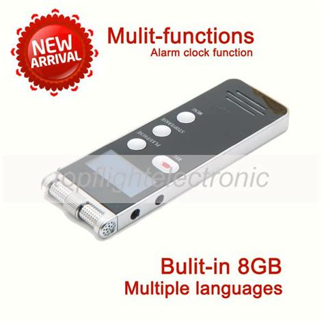 8gb led professional high definition digital voice recorder dictaphone with mp3 player alarm