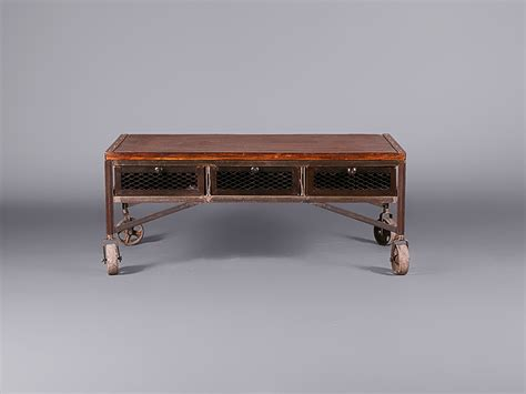 Industrial Aged Coffee Table On Wheels Tables Cabinets Industrial Coffee Tables With Wheels