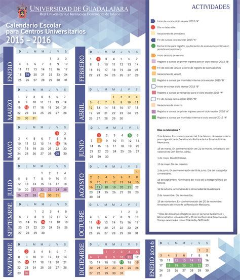 Calendario B Udg Calendario Escolar Para Centros Universitarios 2015 2016
