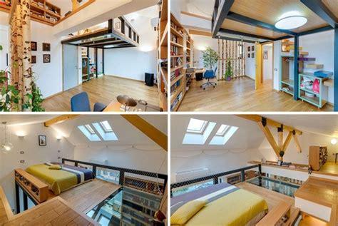 Ordinaire Chambre Dans Les Combles #1: Lit-mezzanine-2-places-am%C3%A9nagement-chambre-adulte-sous-combles.jpg