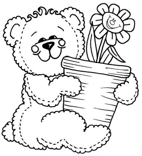 teddy bear with flower coloring page 17 best images about coloring pages teddy bears on