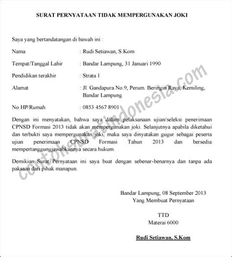 contoh surat pernyataan tidak mempergunakan joki syarat cpns