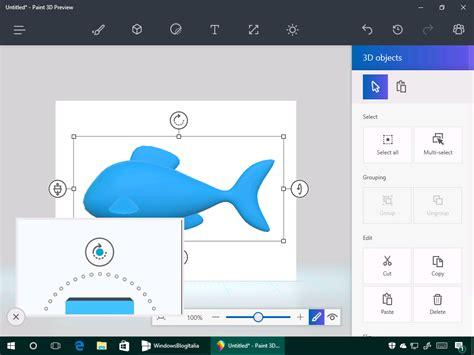 on funzioni 3d della nuova app paint per windows 10