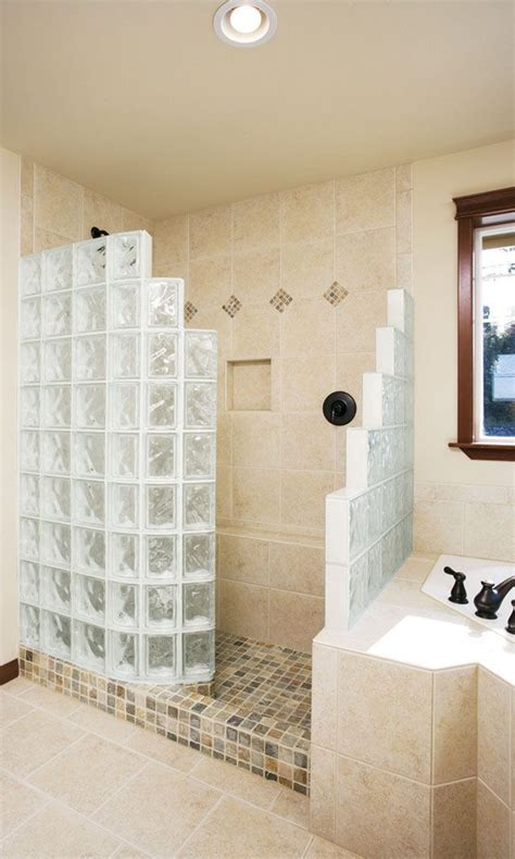 Step down glass block shower 60 x 34 ready for tile shower