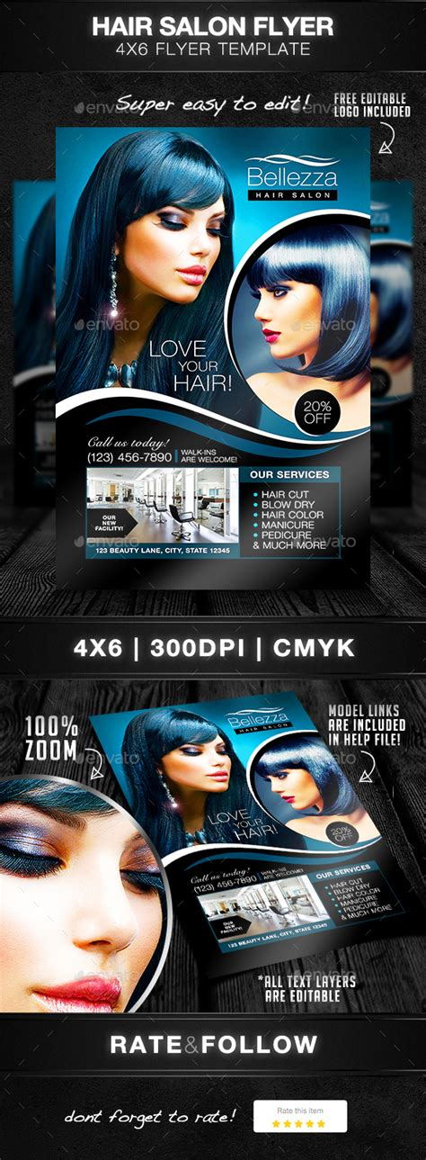 Hair Salon Flyer Template By Designsbydior Graphicriver Hair Stylist Flyer Templates