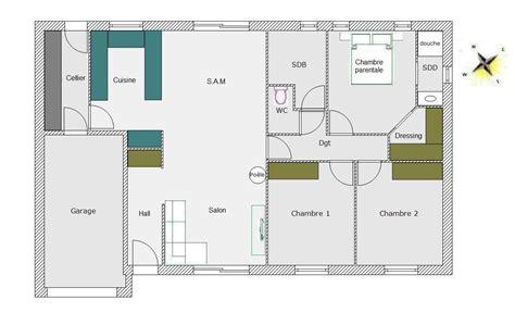 plan maison plain pied 3 chambres 100m2 plan maison rectangulaire plain pied 100m2 madame ki
