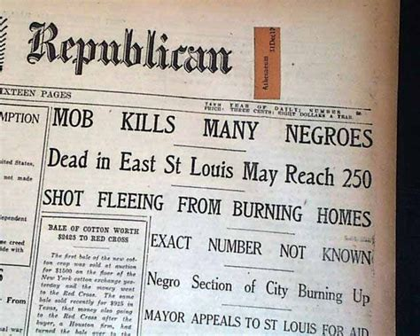 headlines from newspaper in 1917 regarding the race riots