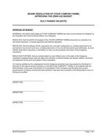 Board Resolution Templates by Board Resolution Approving Budget Template Sle Form