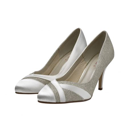 wide fit shoes rainbow club mila ivory silver shimmer wide fit court