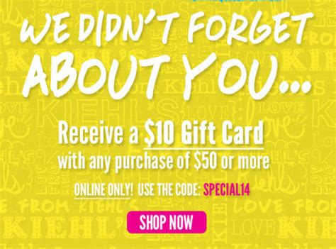 Kiehl S Gift Card - kiehl s canada promotional code receive a 10 gift card with a 50 purchase 3