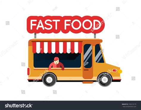 City Kitchen Food Truck by Fast Food Truck City Car Food Stock Vector 376214173