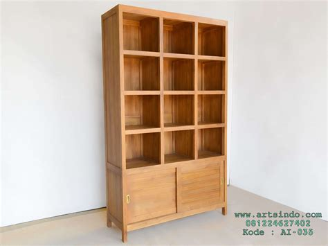 Jual Rak Tv Kayu rak buku perpustakaan kayu jati arts indo furniture