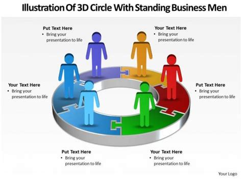 business powerpoint templates illustration   circle  standing men sales