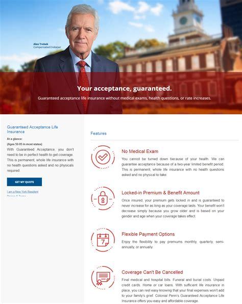 colonial penn life insurance review  alex trebek life